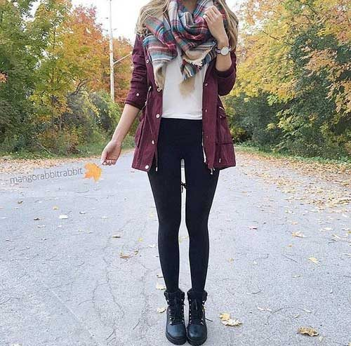 plaid-scarf-with-burgundy-jacket
