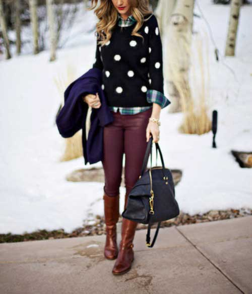 polca-dots-sweater-with-maroon-jeans