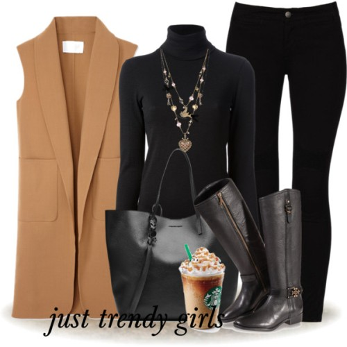 tan-vest-with-black-outfit