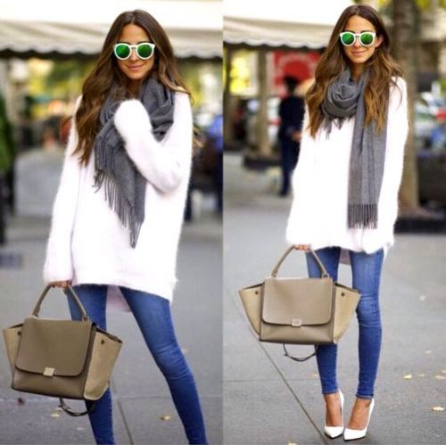 white-sweater-with-scarf-and-jeans