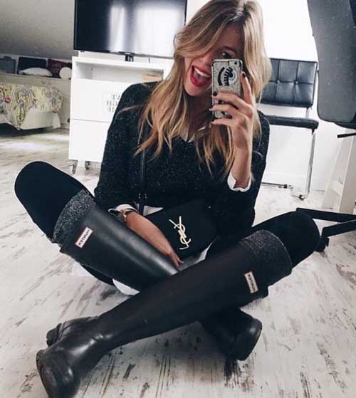 black-hunter-boots-outfit-idea