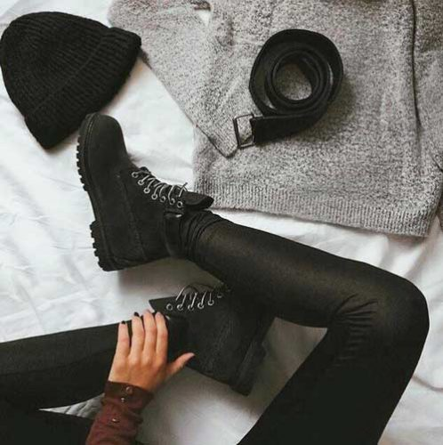 black-lace-up-booties