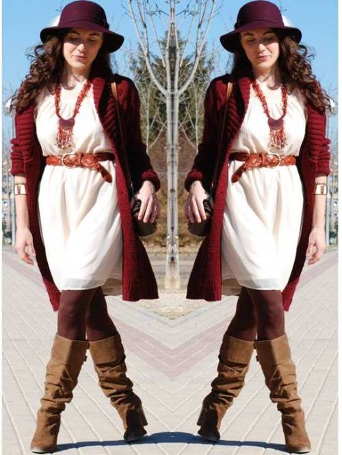 burgundy-cardigan-with-short-creamy-dress