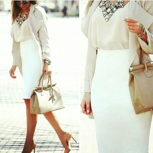 classy-white-pencil-skirt-outfit