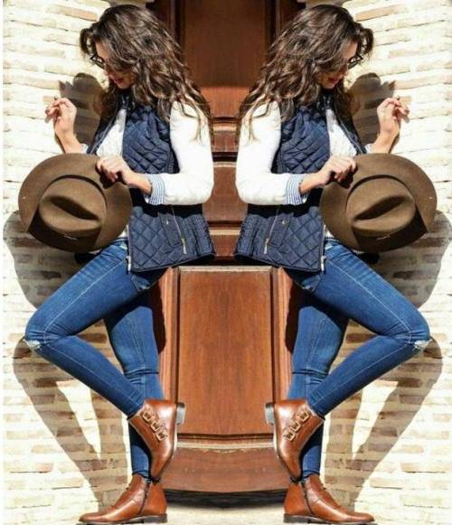 cowboy-style-puffy-vest-ankle-booties