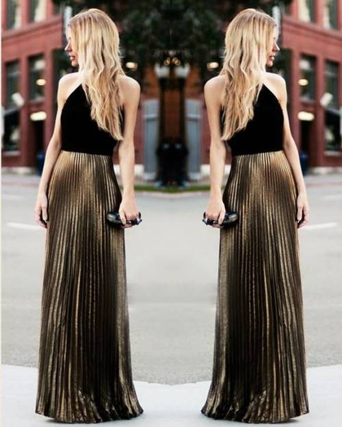 gold-pleated-skirt