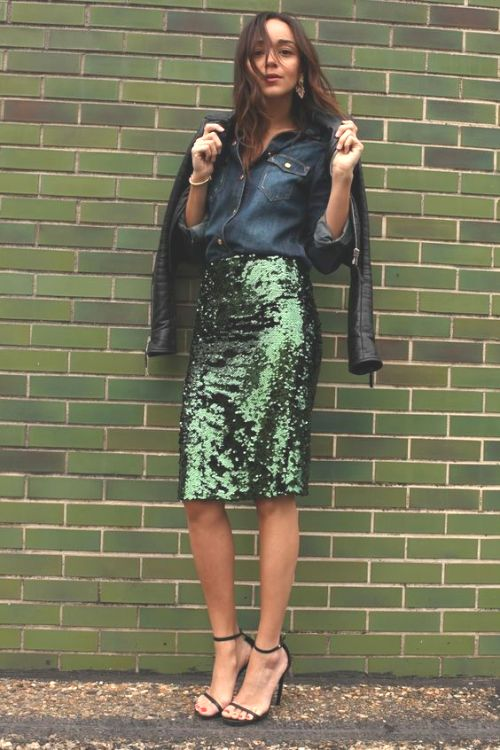 green-sequin-pencil-skirt