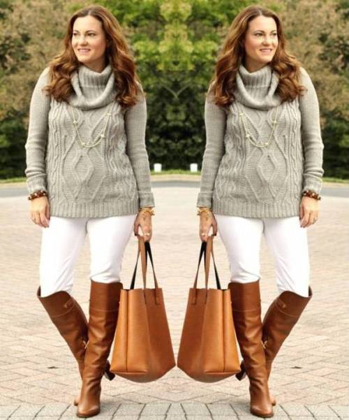 grey-chunky-sweater-white-pants-long-boots