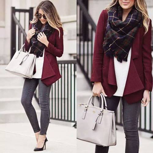 maroon-cardigan-with-plaid-scarf