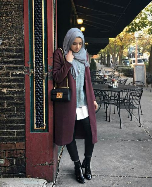 maroon-long-winter-coat-with-grey-outfit