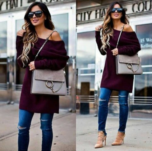 maroon-one-shoulder-sweater