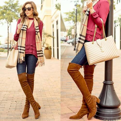 ruffle-red-blouse-with-knee-high-boots