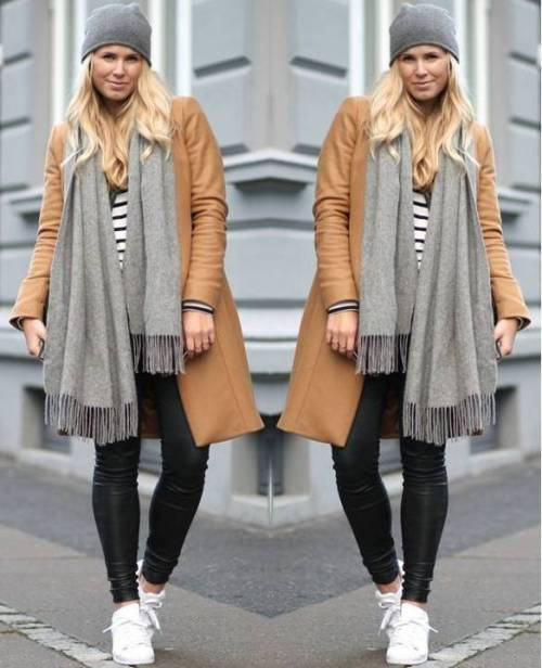 tan-coat-with-grey-scarf-outfit
