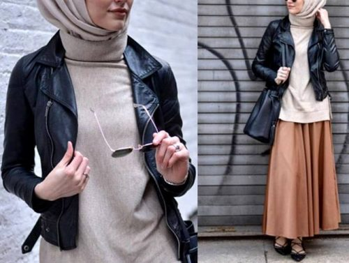 tan-skirt-with-leather-jacket-hijab