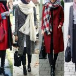 Winter colorful coats with hijab