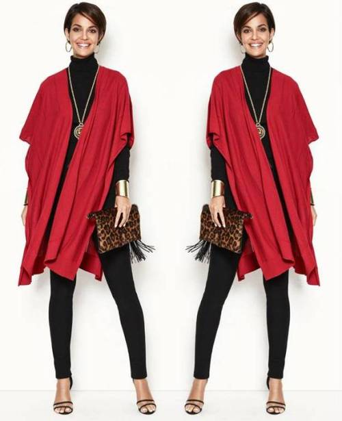 red-poncho-casual-outfit