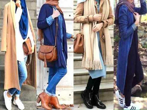 Winter Colorful Coats With Hijab Just Trendy Girls