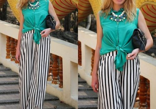 How to wear the striped palazzo pants