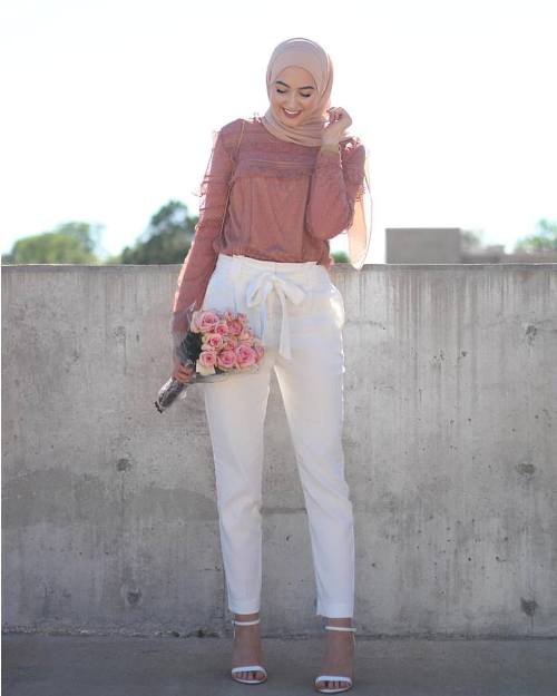 How to style the white jeans with hijab u2013 Just Trendy Girls