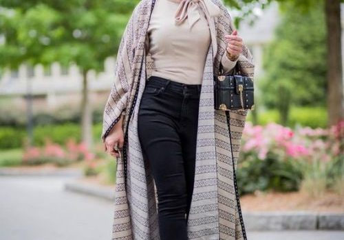 Long open cardigans hijab style