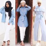 Cute hijab outfits in light blue color