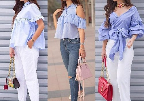 Ruffle blouses street styles