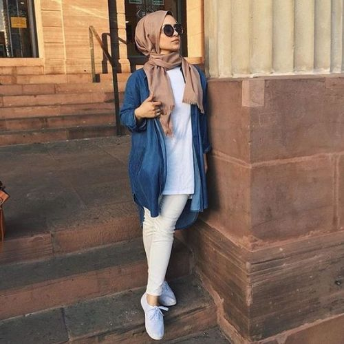 How To Wear The Oversized Jean Jackets With Hijab Just