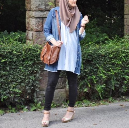 How To Wear The Oversized Jean Jackets With Hijab Just Trendy Girls