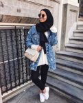 How to wear the oversized jean jackets with hijab