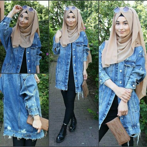 196feeea10 How to wear the oversized jean jackets with hijab | | Just Trendy Girls