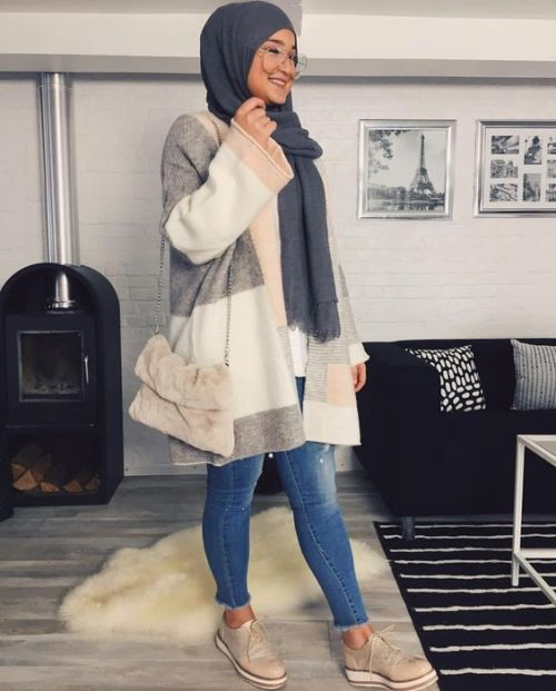 winter knitted hijab outfits just trendy girls. Black Bedroom Furniture Sets. Home Design Ideas
