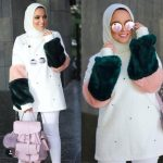 Furry sleeves sweaters with hijab