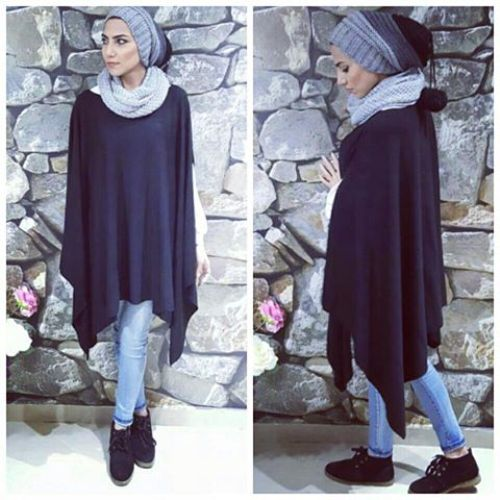 How To Wear Poncho With Hijab Just Trendy Girls