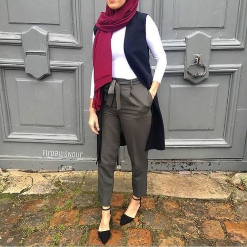 Dressy pants with hijab just trendy girls Fashion style hijab terkini
