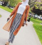 Striped pants and ruffle blouses hijab outfits