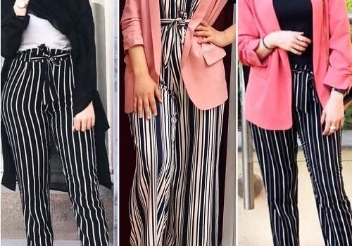 How to wear striped pants with hijab