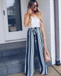 How to wear the striped wide pants this summer