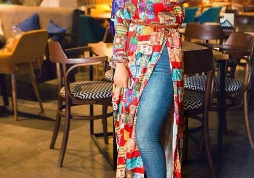 Open dress with jeans hijab style