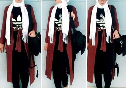 Sporty hijab with adidas sweatshirts
