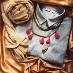 Chic scarves with statement necklaces