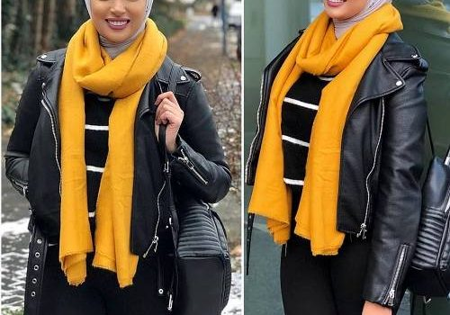 Warm knitted hijab styles