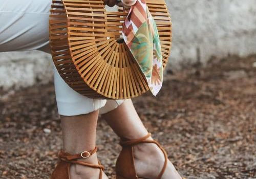 Straw wedge sandals with matched bags