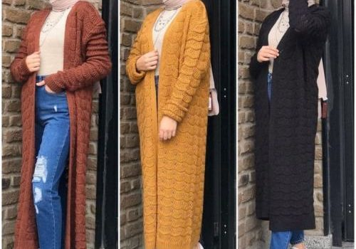 Chunky long cardigans and sweaters with hijab styles