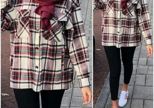 How to wear checked shirts with hijab