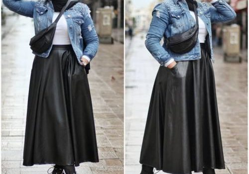 How to style the pleated leather skirt with hijab