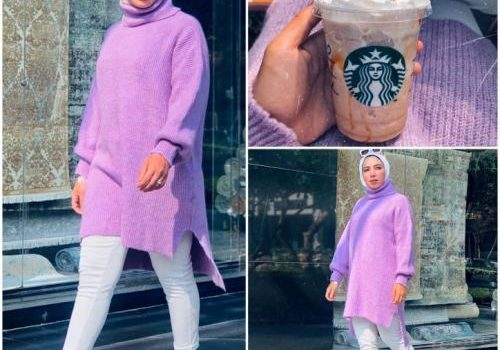 Winter hijab styles in candy colors