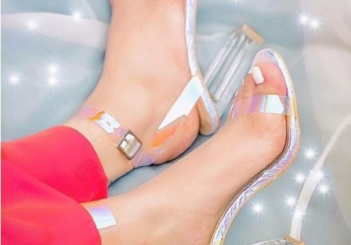 Strappy transparent sandals for women