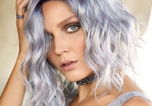 Platinum blonde tones and icy blue silver hair styles