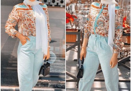 Slouchy pants styling ideas with hijab style