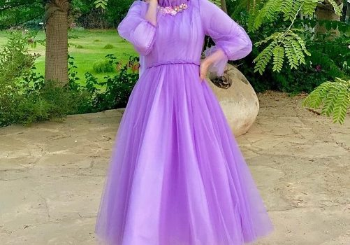 Soiree hijab dresses in candy colors
